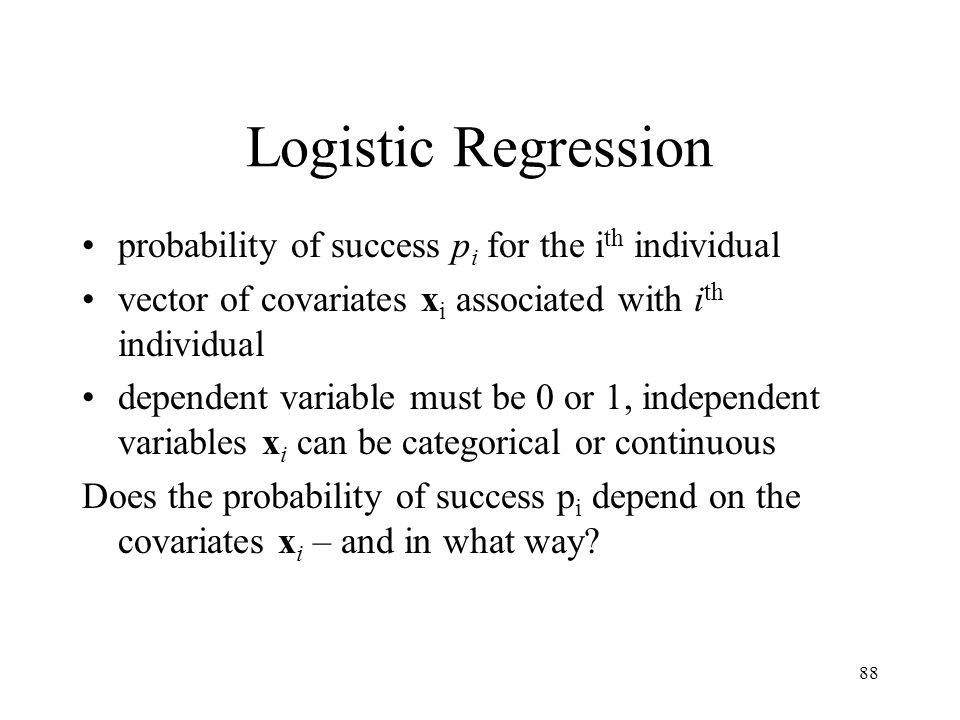 Logistic Regression probability of success pi for the ith individual