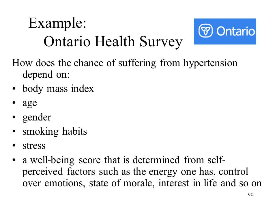 Example: Ontario Health Survey