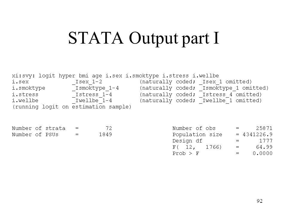 STATA Output part I