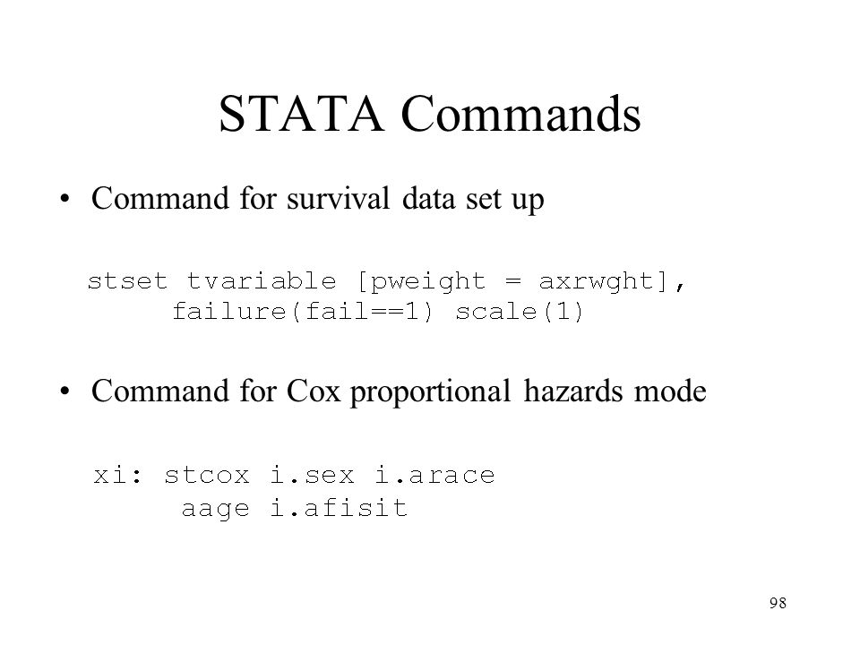 STATA Commands Command for survival data set up