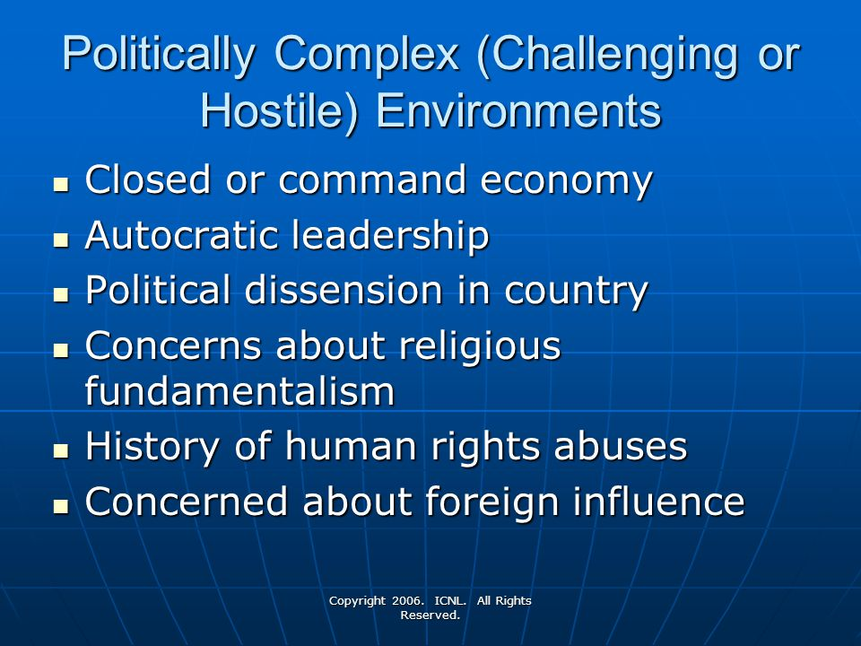 Politically Complex (Challenging or Hostile) Environments