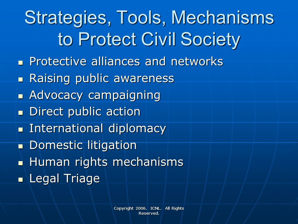 Strategies, Tools, Mechanisms to Protect Civil Society