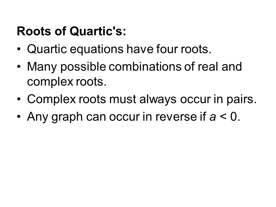 how to find complex roots of a quartic equation