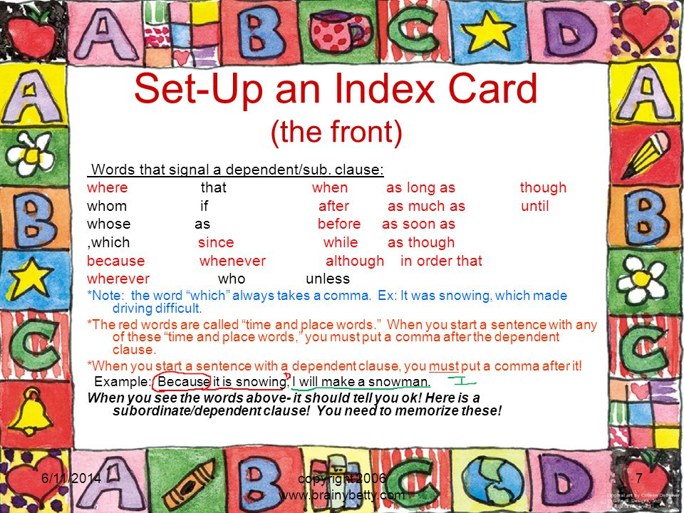 Set-Up an Index Card (the front)