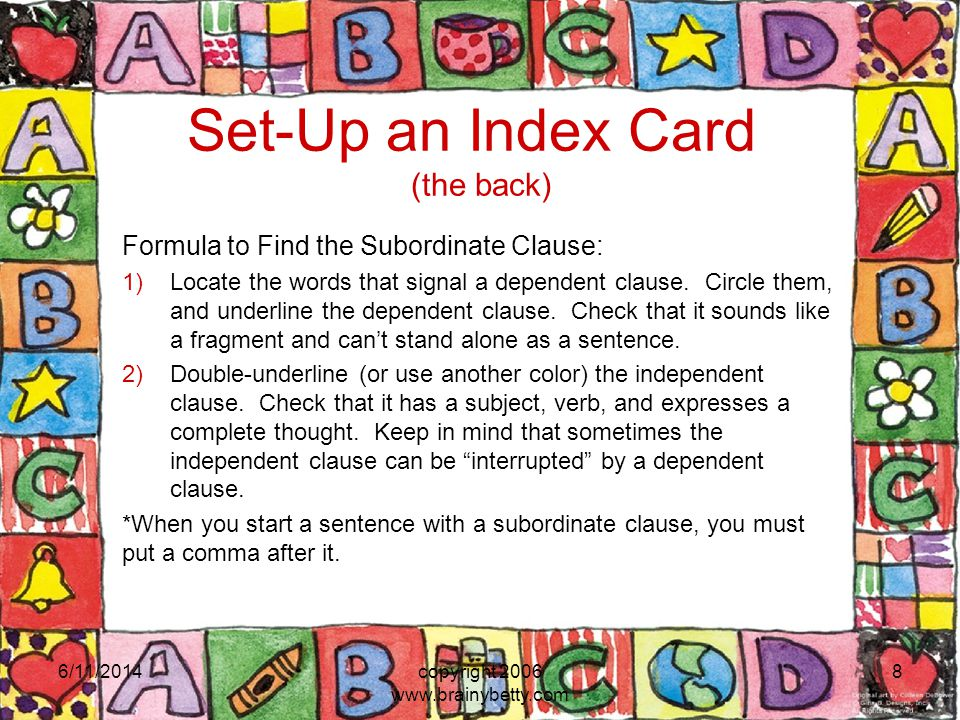 Set-Up an Index Card (the back)