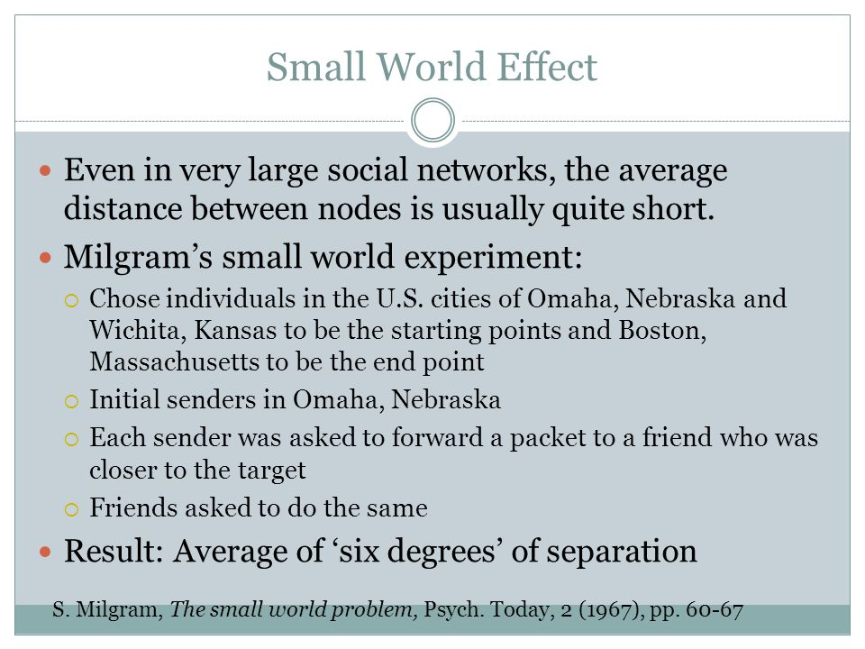 Small World Effect Milgram's small world experiment: