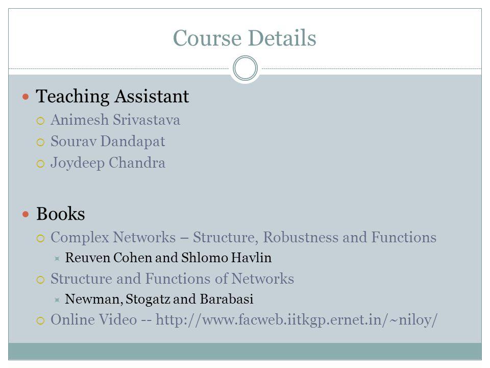 Course Details Teaching Assistant Books Animesh Srivastava