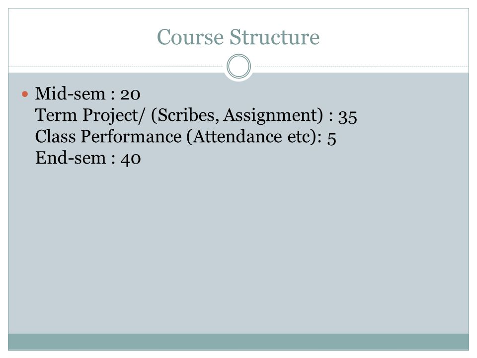 Course Structure Mid-sem : 20 Term Project/ (Scribes, Assignment) : 35 Class Performance (Attendance etc): 5 End-sem : 40.