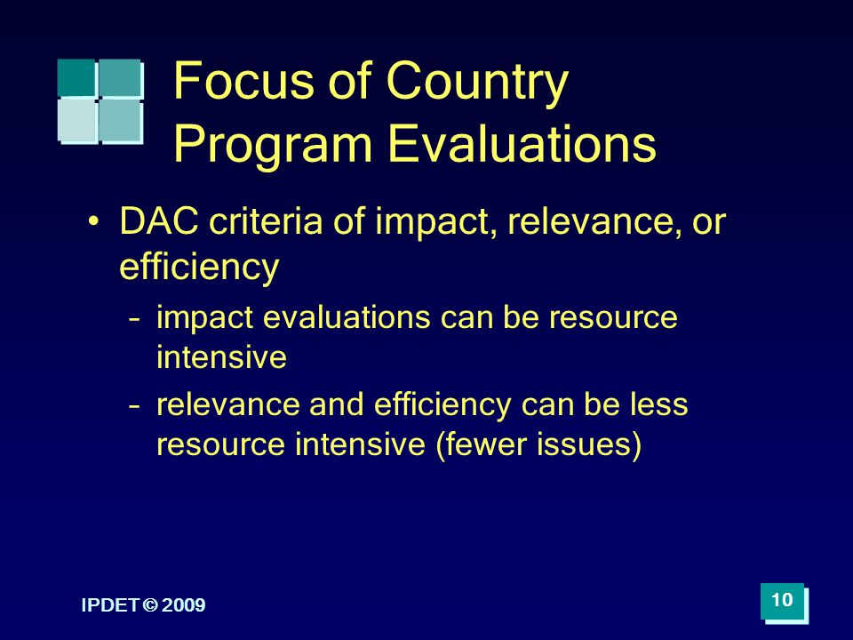 Focus of Country Program Evaluations