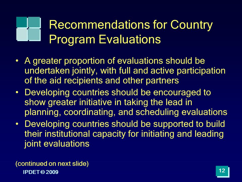 Recommendations for Country Program Evaluations