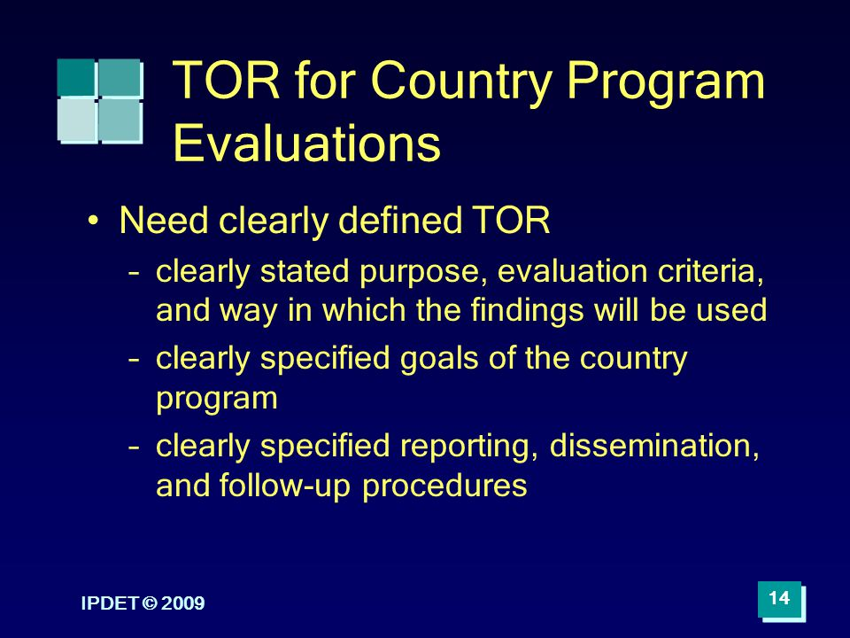 TOR for Country Program Evaluations