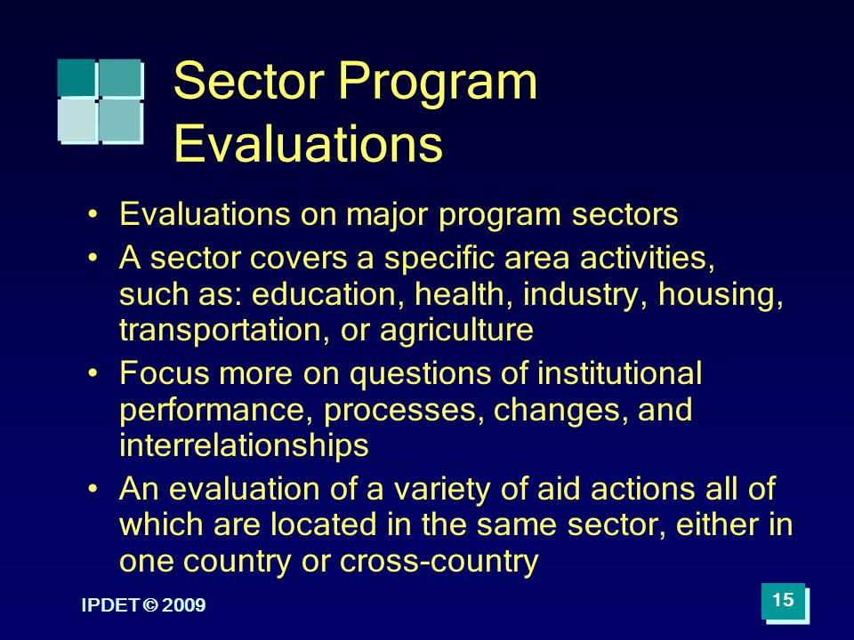 Sector Program Evaluations