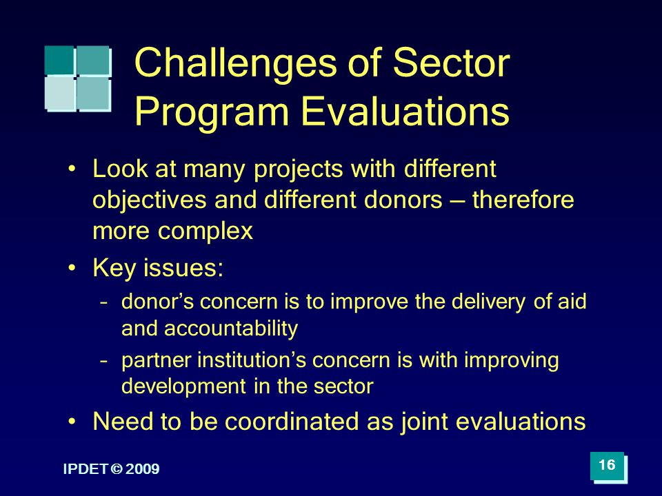 Challenges of Sector Program Evaluations