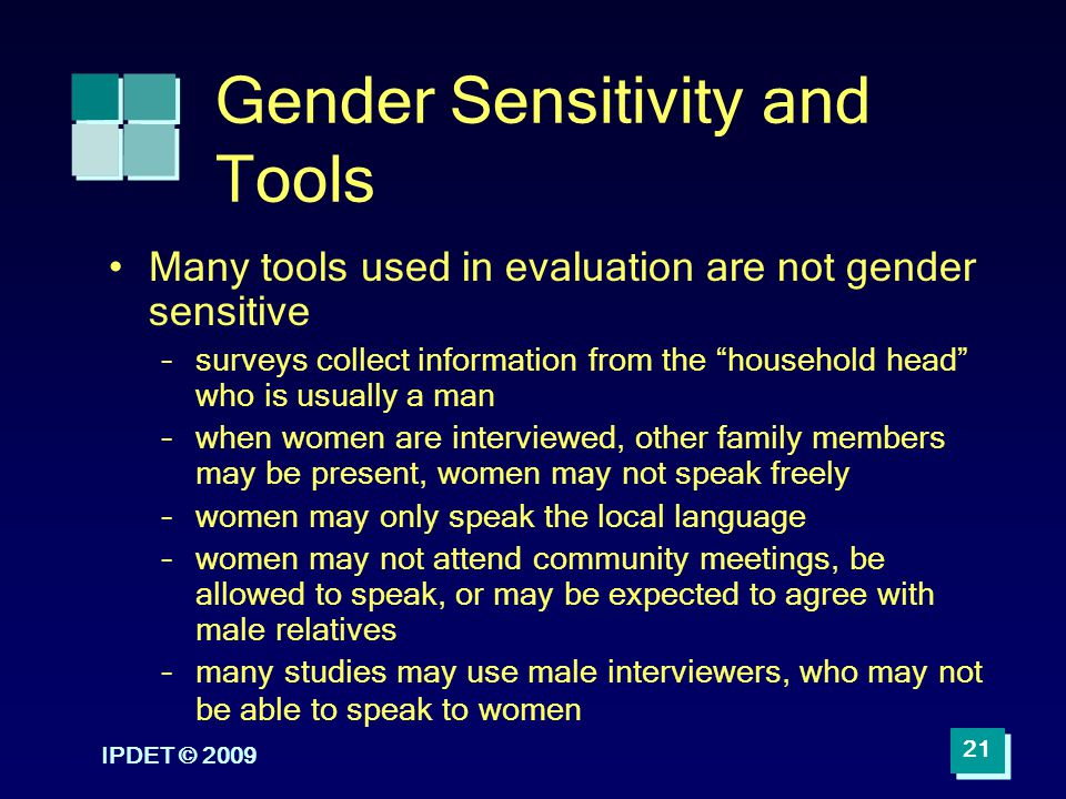 Gender Sensitivity and Tools