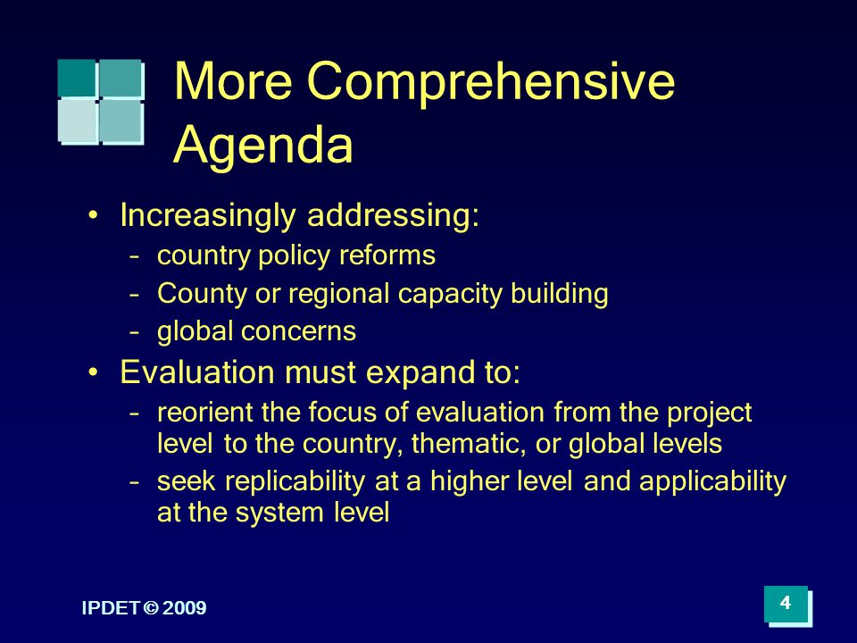 More Comprehensive Agenda