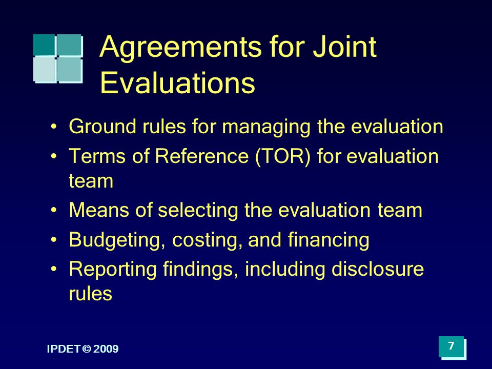 Agreements for Joint Evaluations