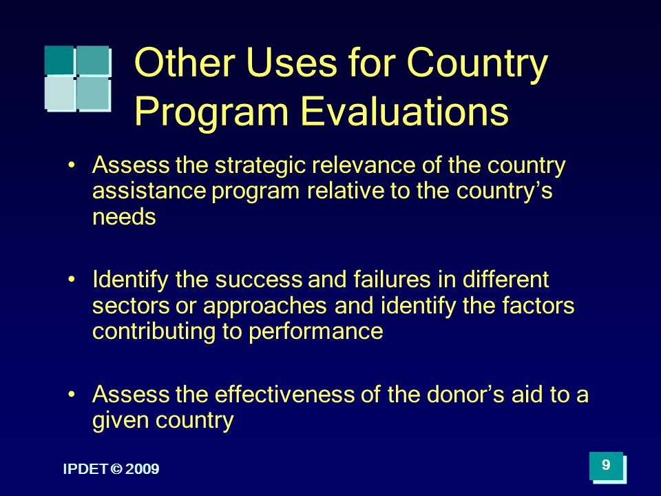Other Uses for Country Program Evaluations