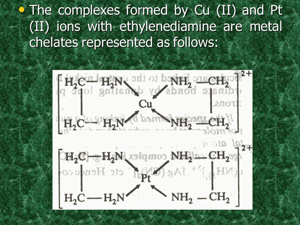 The complexes formed by Cu (II) and Pt (II) ions with ethylenediamine are metal chelates represented as follows: