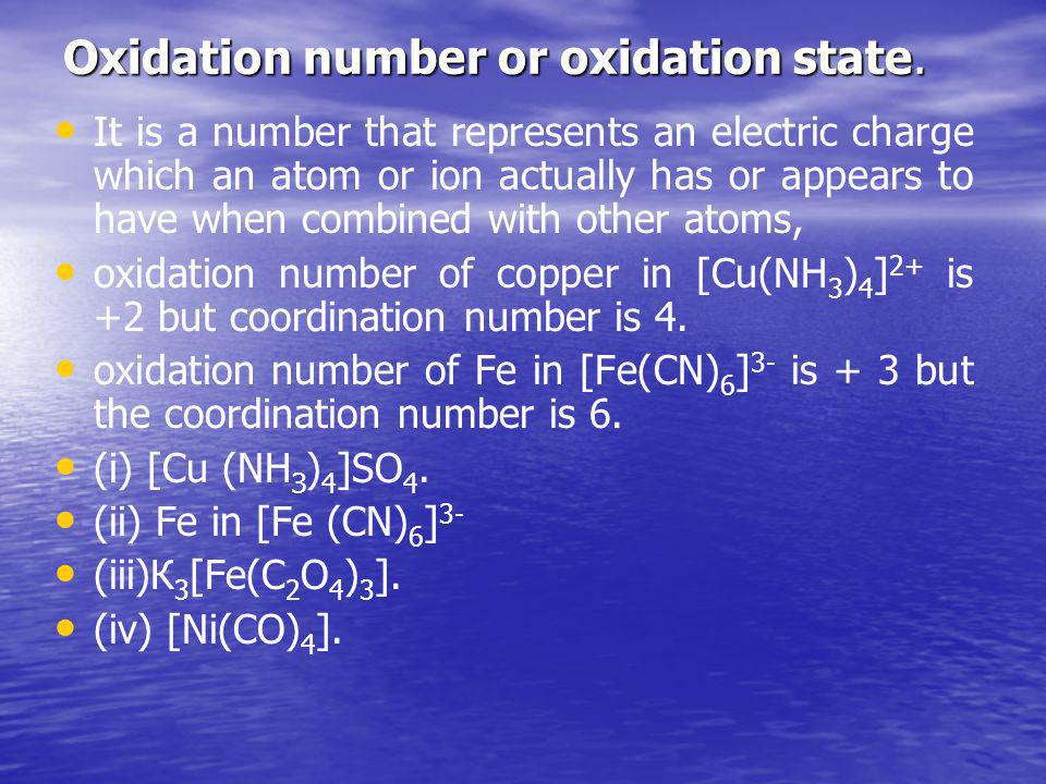 Oxidation number or oxidation state.
