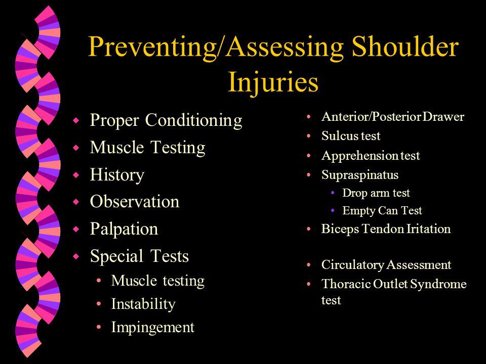 Preventing/Assessing Shoulder Injuries