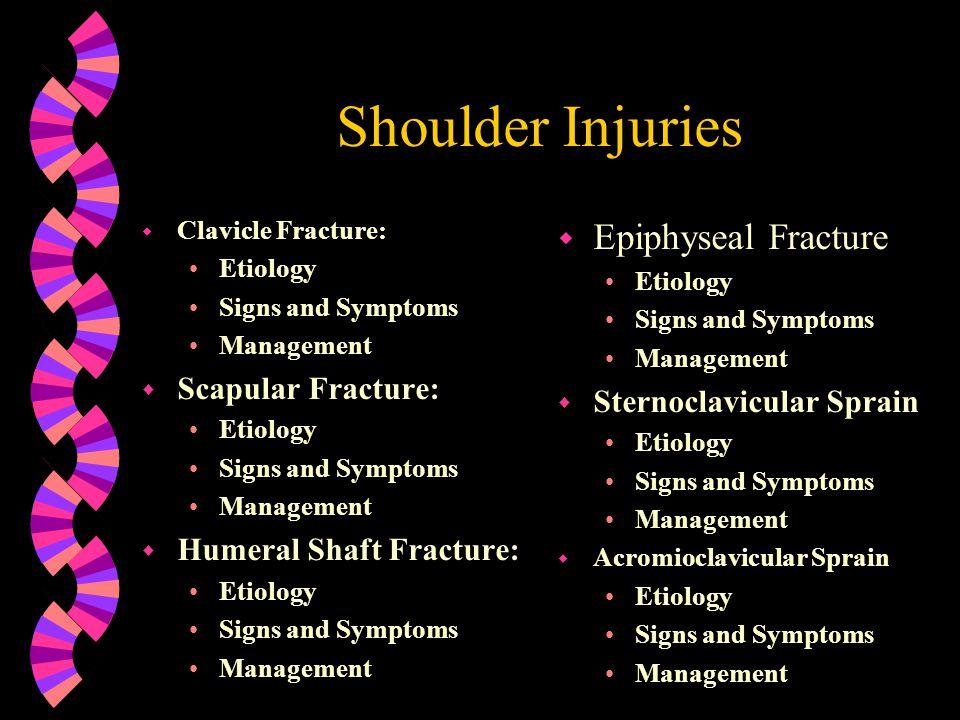 Shoulder Injuries Epiphyseal Fracture Scapular Fracture: