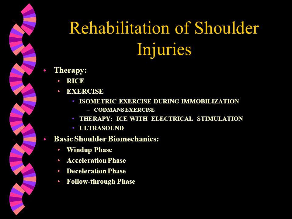 Rehabilitation of Shoulder Injuries