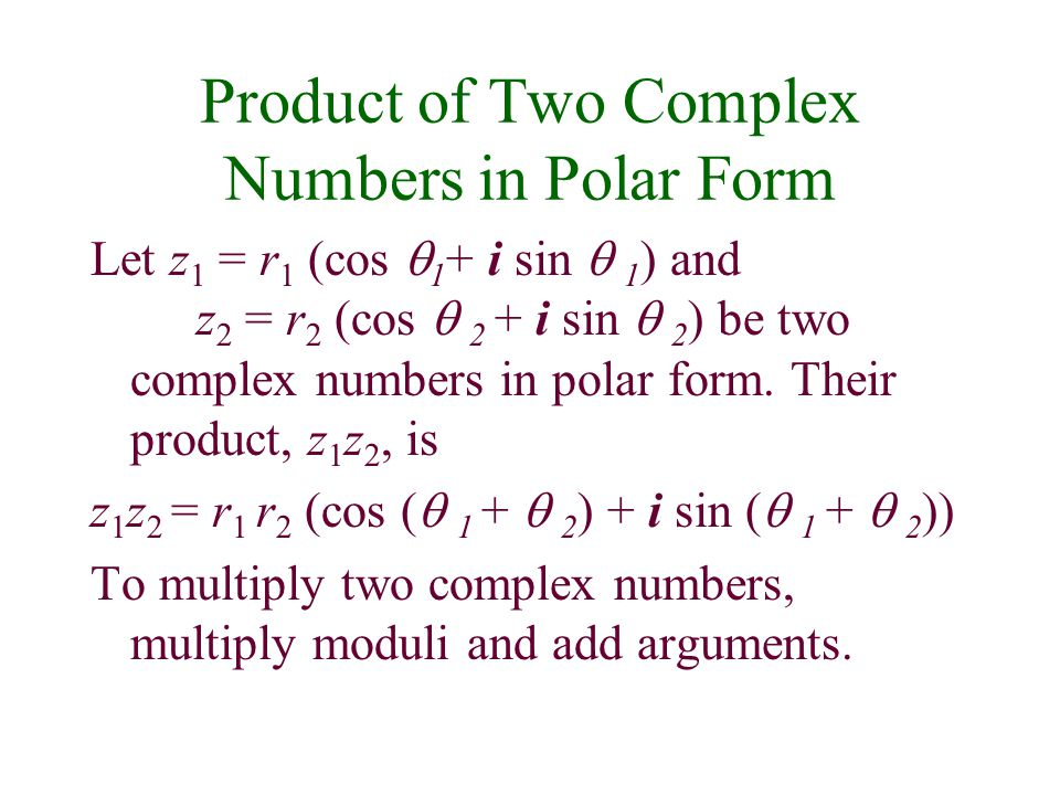 Product of Two Complex Numbers in Polar Form