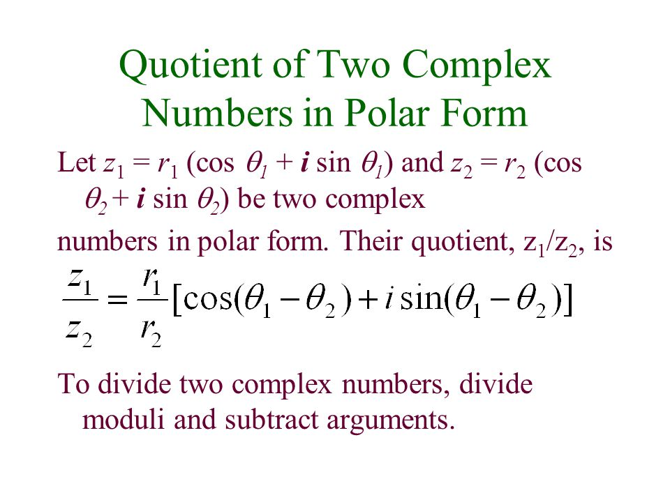Complex Numbers in Polar Form; DeMoivre's Theorem ppt video online ...