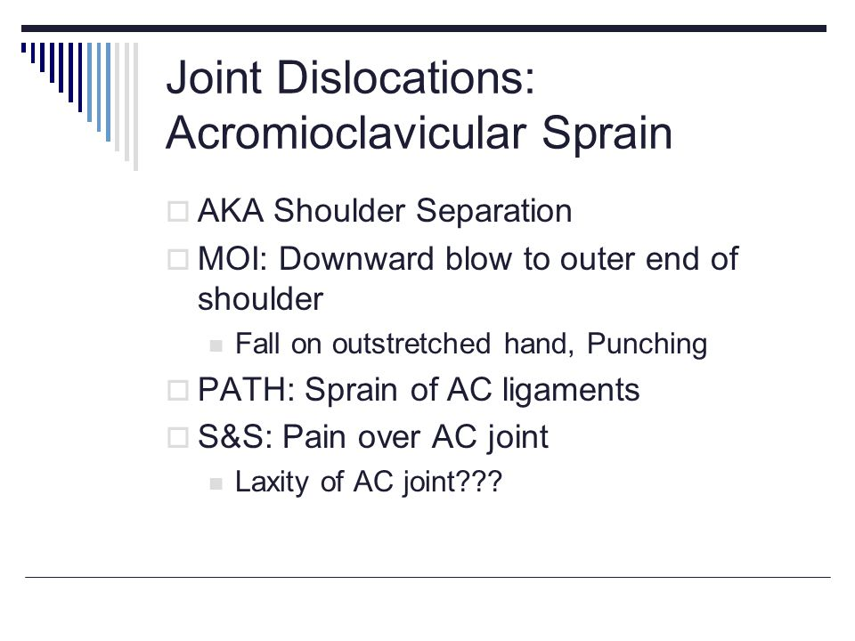 Joint Dislocations: Acromioclavicular Sprain