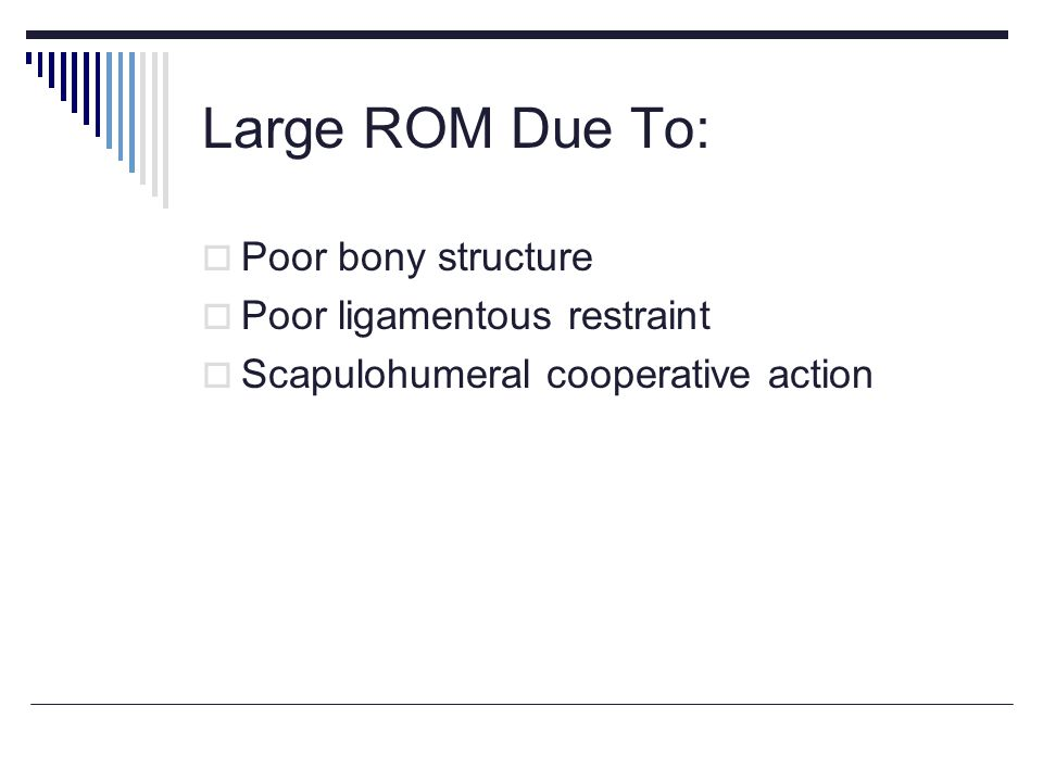 Large ROM Due To: Poor bony structure Poor ligamentous restraint