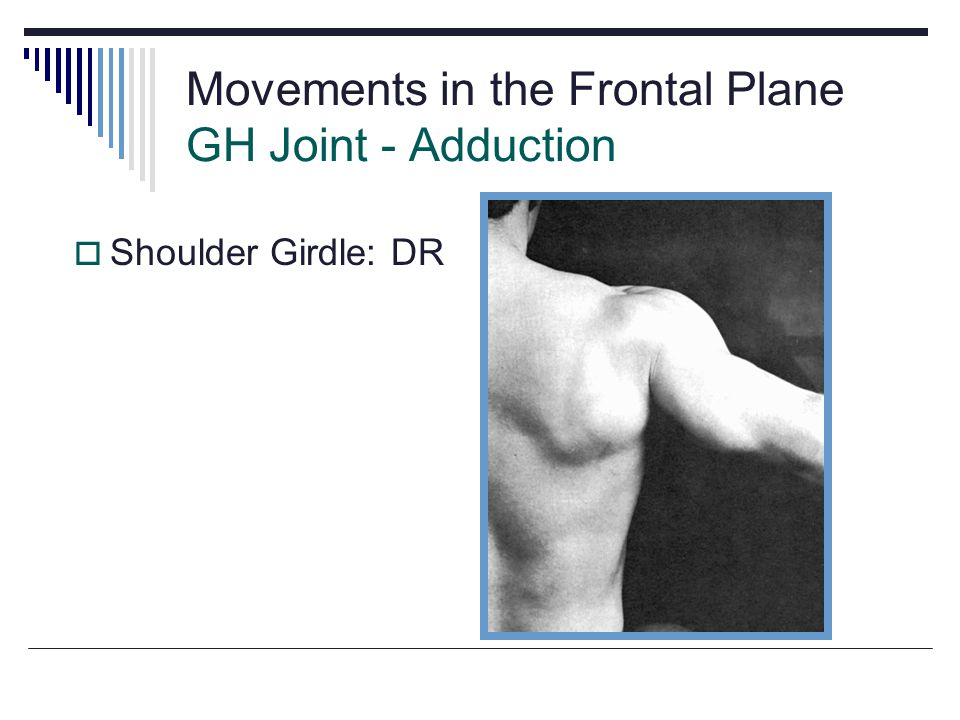 Movements in the Frontal Plane GH Joint - Adduction