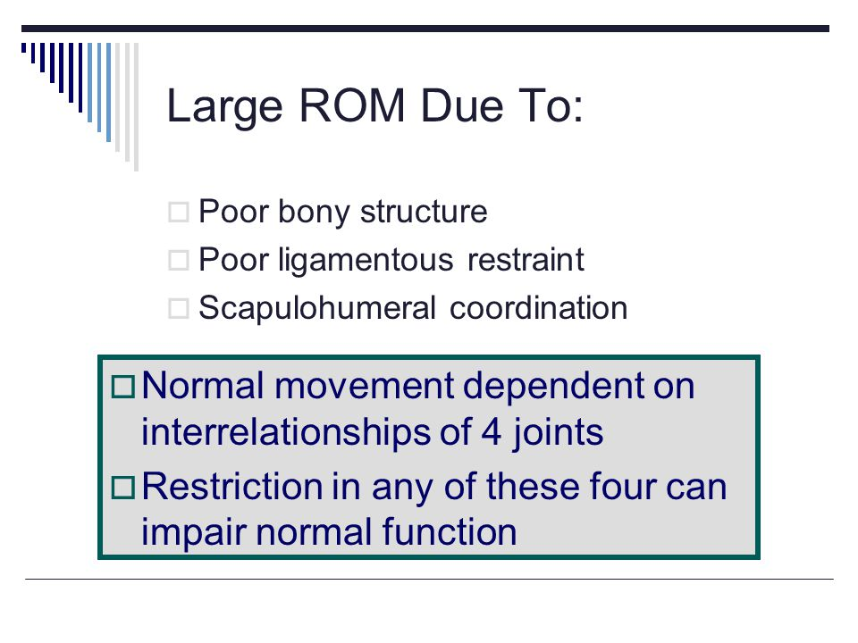 Large ROM Due To: Poor bony structure. Poor ligamentous restraint. Scapulohumeral coordination.
