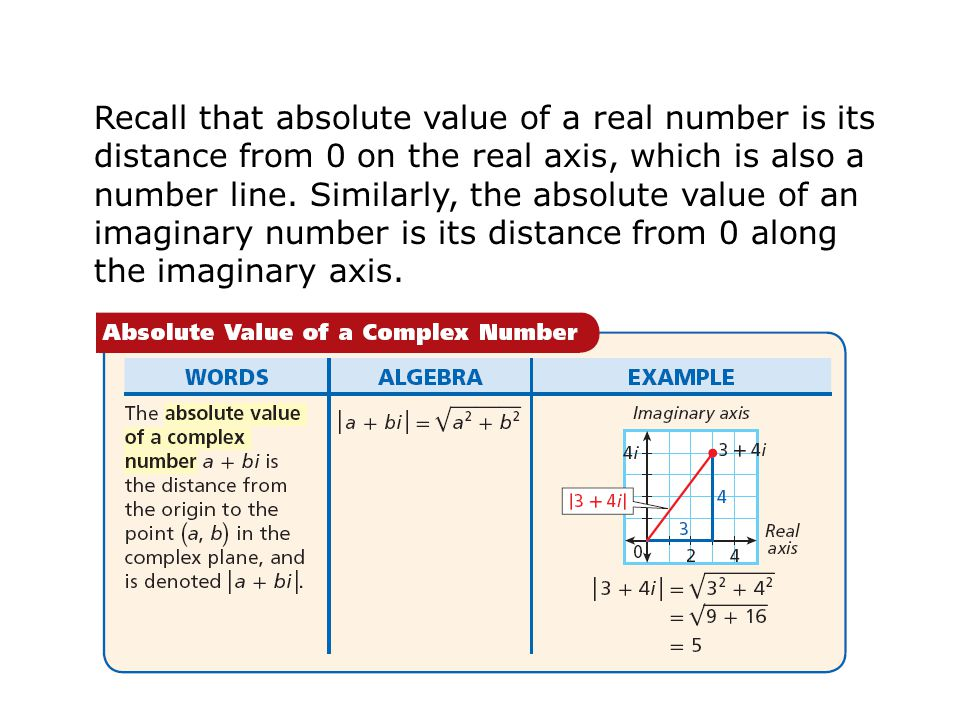 Recall that absolute value of a real number is its distance from 0 on the real axis, which is also a number line.