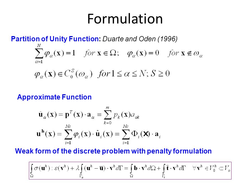 Formulation Partition of Unity Function: Duarte and Oden (1996)