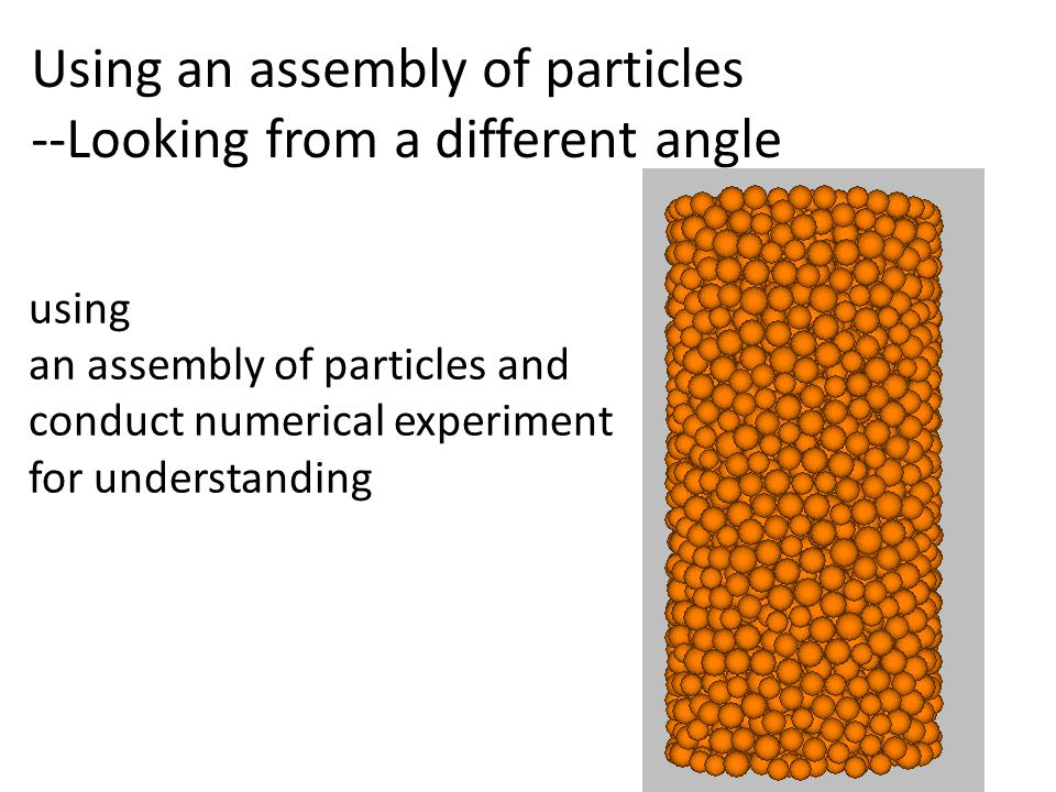 Using an assembly of particles --Looking from a different angle