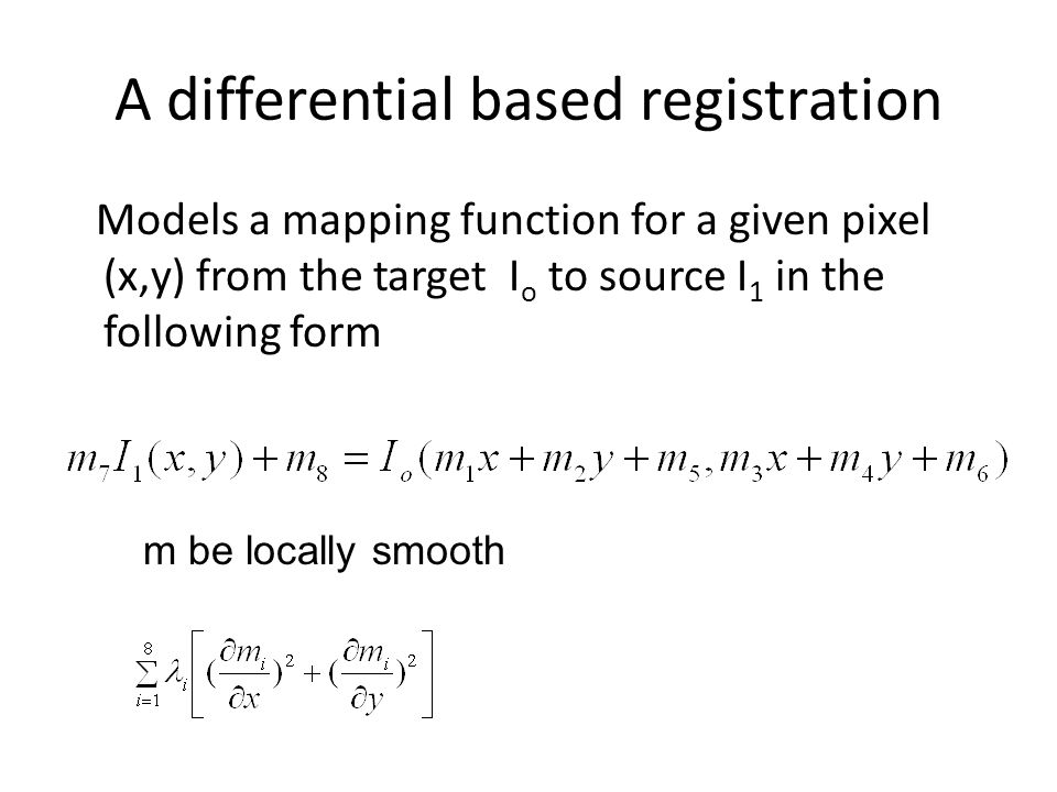 A differential based registration