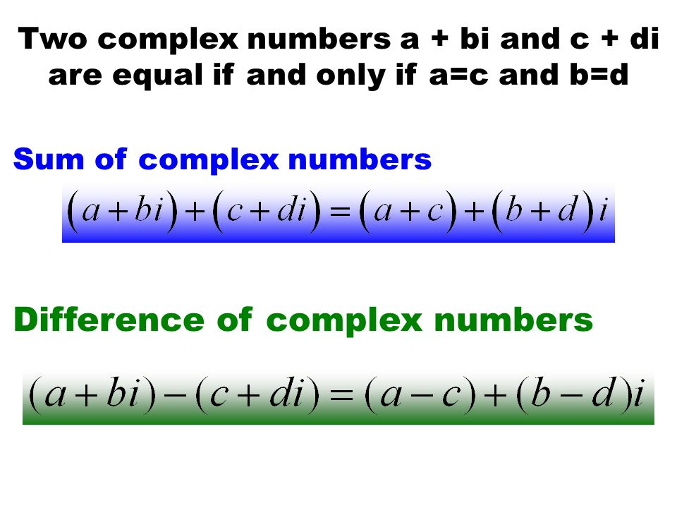 Difference of complex numbers