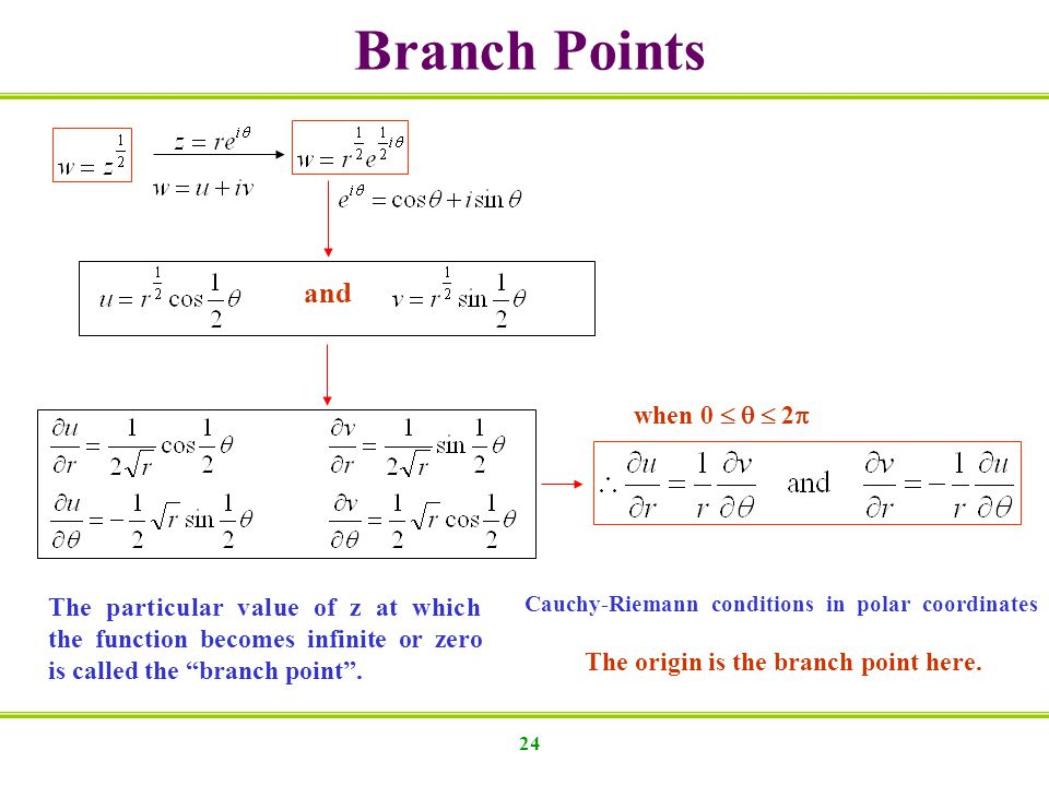 Branch Points and when 0    2 The particular value of z at which