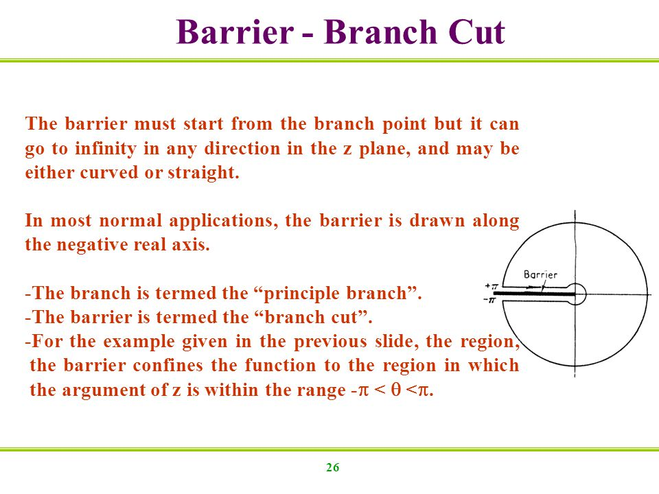 Barrier - Branch Cut The barrier must start from the branch point but it can go to infinity in any direction in the z plane, and may be.