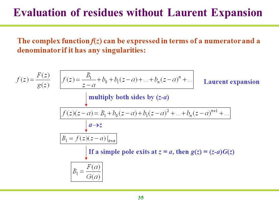 Evaluation of residues without Laurent Expansion