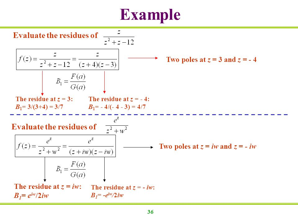 Example Evaluate the residues of Evaluate the residues of