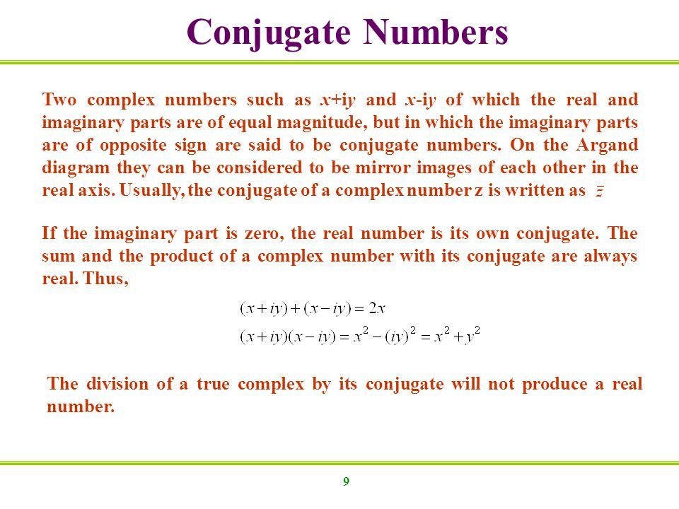 Conjugate Numbers
