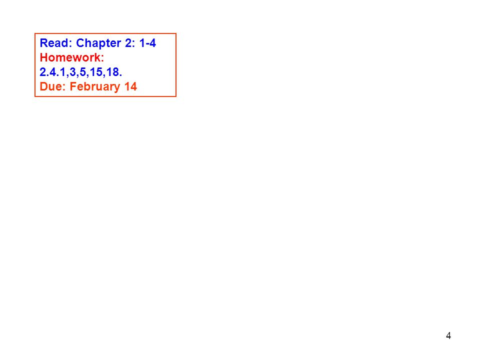 Read: Chapter 2: 1-4 Homework: 2.4.1,3,5,15,18. Due: February 14