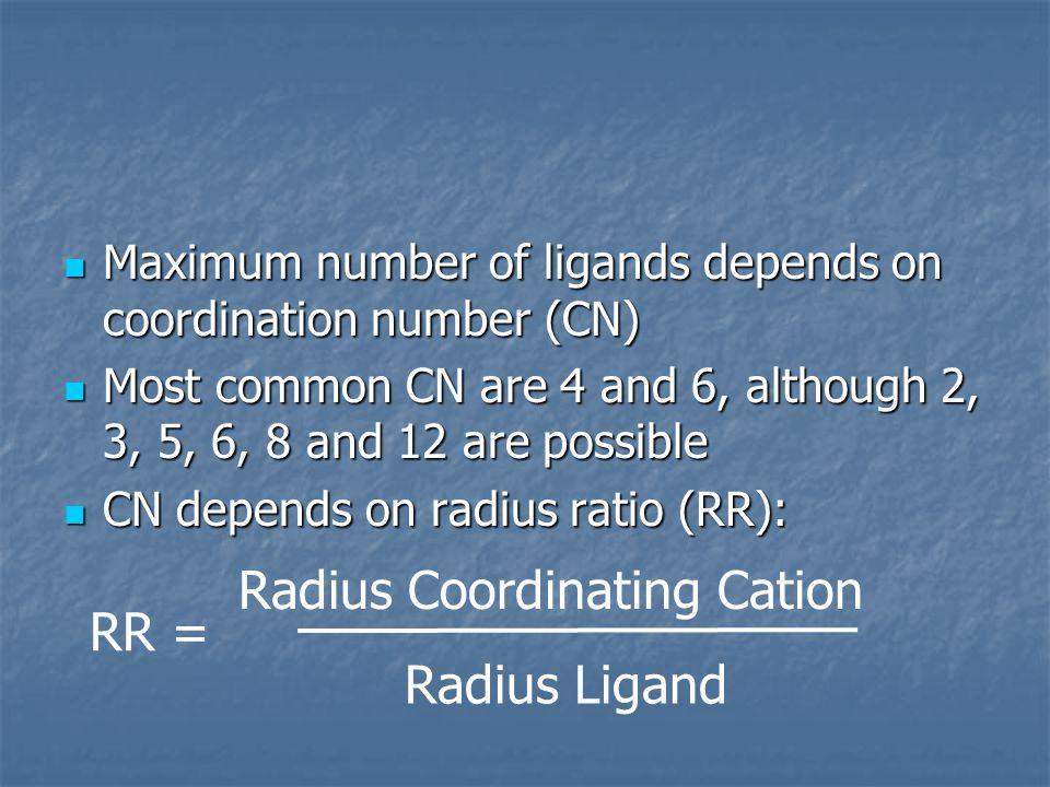 Radius Coordinating Cation RR = Radius Ligand