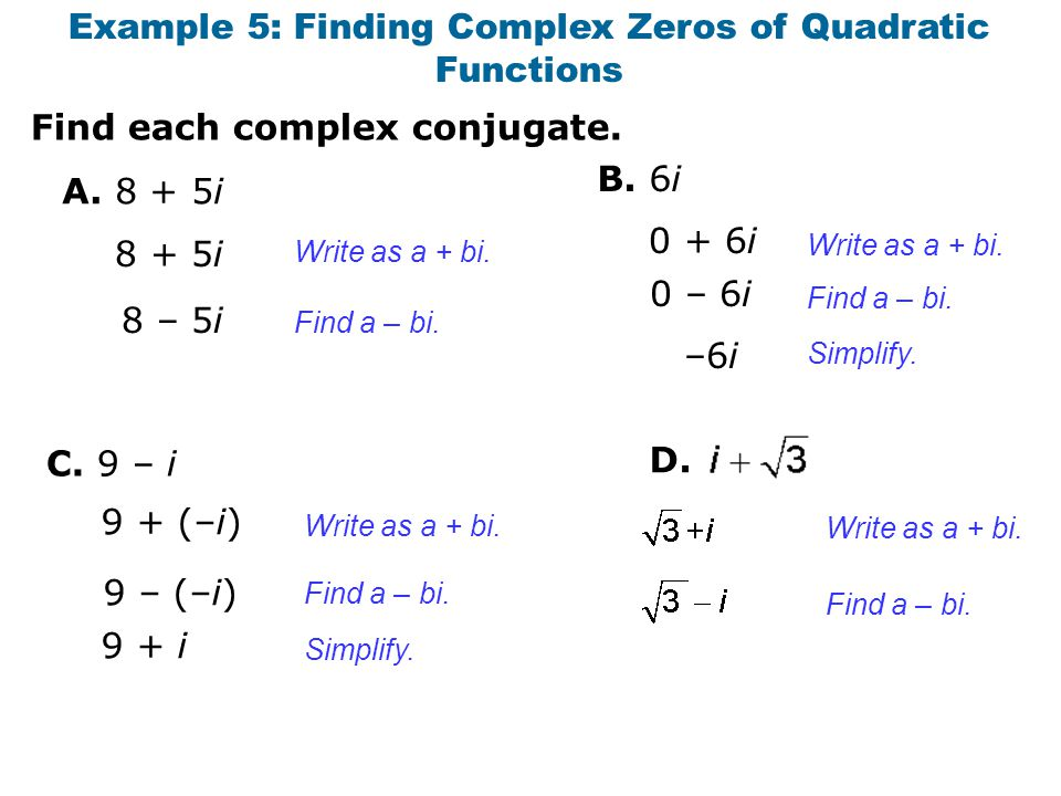 Example 5: Finding Complex Zeros of Quadratic Functions