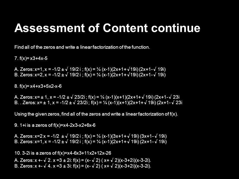 Assessment of Content continue