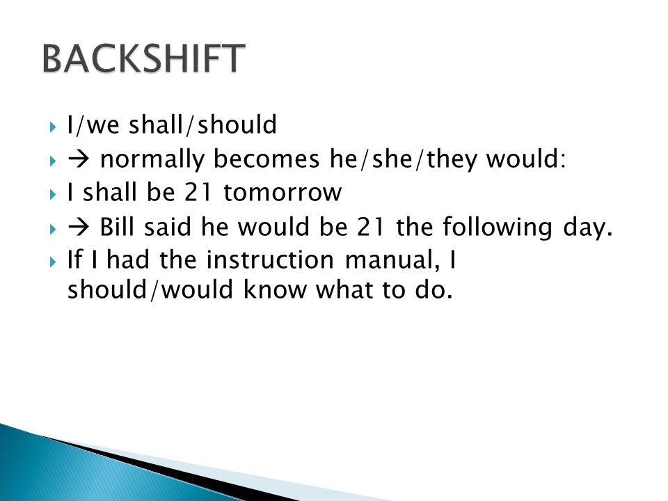 BACKSHIFT I/we shall/should  normally becomes he/she/they would: