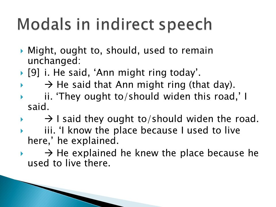 Modals in indirect speech