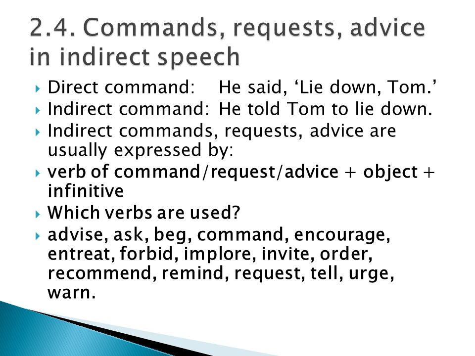 2.4. Commands, requests, advice in indirect speech