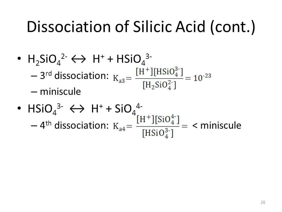 Dissociation of Silicic Acid (cont.)